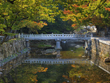Bridge and Stonework over and Along a Stream in Autumn, Tongdo Temple Grounds, South Korea Photographic Print by Geoffrey Schmid