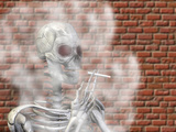 Skeleton Smoking a Cigarette Photographic Print by Carol &amp; Mike Werner