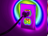 Thermogram of a Cord Plugged into a Nema 5-20 Duplex Power Outlet Photographic Print by  GIPhotoStock