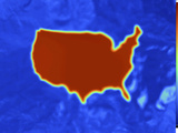 Thermogram of an Outline Map of the Continental USA Showing the Temperature Photographic Print by  GIPhotoStock