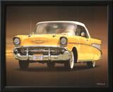 1957 Chevy Yellow Art Poster Print Prints