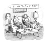 Two elderly individuals sitting on couch in living room. - New Yorker Cartoon Premium Giclee Print by Roz Chast