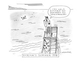 A lifeguard shouts at a drowning man. - New Yorker Cartoon Premium Giclee Print by Mick Stevens