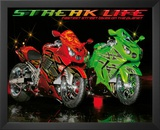 Streak Life (Red & Green Motorcycles) Art Poster Print Prints