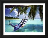 Tropical Beach (Hammock Under Tree) Art Poster Print Print