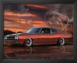 1975 Chevy Chevelle Red Car Art Print Poster Prints
