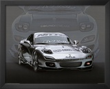 1995 Mazda RX7 Silver Car Art Print Poster Prints
