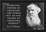 Every Thinks Of Changing World Not Himself Tolstoy Quote Poster Prints