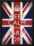 Keep Calm and Carry On (Motivational, Union Jack Flag) Art Poster Print Prints