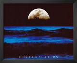 Contemplation Ocean and Moon Motivational Art Print Poster Prints