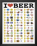 I Heart Beer (Funny List) Art Poster Print Print