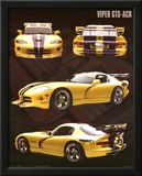 Dodge Viper (GTS-ACR, Yellow) Art Poster Print Poster