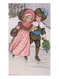 Girl and Boy Skating, Late 19th or Early 20th Century (Colour Litho) Giclee Print by Florence Hardy