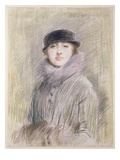 Portrait of a Lady with a Fur Collar and Muff, 20th Century (Drawing) Giclee Print by Paul Cesar Helleu
