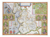 Lancashire in 1610, from John Speed's 'Theatre of the Empire of Great Britaine', First Edition Giclee Print by John Speed