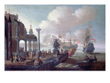Mediterranean Harbour Scene Giclee Print by Johannes Lingelbach