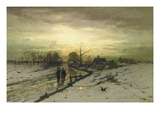 Snow Scene: Sunset, 19th Century Premium Giclee Print by Ludwig Munthe