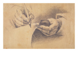 Drawing Hands, 1798 (Black Chalk Heightened with White on Brown Paper) Giclee Print by Philipp Otto Runge