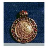 Gold Pendant in the Form of a Coin of Valentinianus Set around with Garnets and Blue Pastes Giclee Print