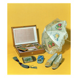 Victorian Carriage Parasol, Bead Bag, Cardcase and Shoes Giclee Print by  English