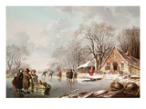 Winter Scene (Oil on Canvas) Giclée-Druck von Andries Vermeulen