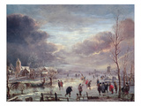 Landscape in Winter (Oil on Canvas) Reproduction procédé giclée par Aert van der Neer