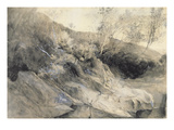 The Rocky Bank of a River - Verso: Sketch of Foliage, C.1853 Giclee Print by John Ruskin