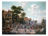 Village Festival, 1716 (Oil on Canvas) Giclée-Druck von Rutger Verburgh