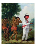 West Indian Man of Colour, Directing Two Carib Women with a Child, c.1780 Giclee Print by Agostino Brunias