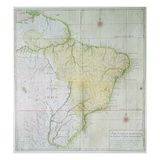 Map of Brazil, 1749 (Colour Engraving) Giclee Print by  Portuguese