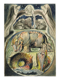 Behemoth and Leviathan, after William Blake (1757-1827) (Pen and Ink and W/C on Paper) Premium Giclee Print by John Linnell