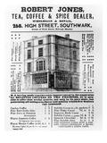 Advertisement for Robert Jones, Tea, Coffee and Spice Dealer, January 1845 (Litho) Giclée-Druck von  English