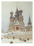 St. Basil's Cathedral, Red Square, Moscow, c.1917 Giclee Print by Nikolay Nikanorovich Dubovskoy