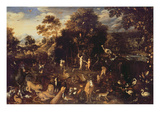 The Garden of Eden with Adam and Eve (Oil on Canvas) Giclee Print by Isaak van Oosten
