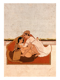 Lovers on a Terrace with White Flowers, Murshidabad, C.1775, (Gouache on Paper) Giclee Print by  Indian