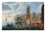 A Harbour Scene Giclee Print by A.F Boudewyns