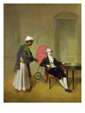 A Gentleman, Possibly William Hickey, and His Indian Servant, C.1785 (Oil on Canvas) Giclee Print by Arthur Devis