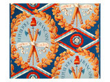 Wallpaper with French Revolutionary Symbols, 30th June 1793 (Coloured Engraving) Premium Giclee Print by  French