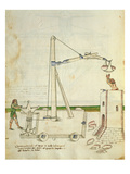 Design for a Crane for Use in Construction of a Tower, Illustration from &#39;De Machinis&#39; Giclee Print by  Mariano di Jacopo