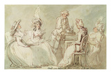 A Tea Party (Pen and Ink, Pencil and W/C on Paper Laid on Mount) (Recto of 238964) Giclee Print by Thomas Rowlandson
