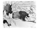 Breton Washerwomen, 1889 (Zincograph on Paper) (B/W Photo) Premium Giclee Print by Paul Gauguin