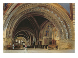 The Interior of the Lower Basilica of St. Francis of Assisi, 1839 (W/C and Gouache with Gum Arabic) Giclee Print by Thomas Hartley Cromek