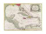 New and Accurate Map of the West Indies (Colour Litho) Giclee Print by  American