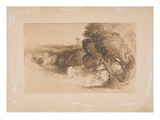 Expulsion from Eden, (Brown Wash on Paper Laid Down on Card) Giclee Print by John Martin