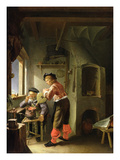 An Alchemist and His Assistant in their Workshop (Oil on Panel) Lámina giclée por Frans Van Mieris