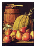 Still Life with Pears, Melon and Barrel for Marinading Giclee Print by Luis Egidio Melendez