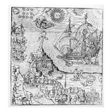 Queen Elizabeth I (1553-1603) on Board a Ship (Engraving) (B/W Photo) Giclee Print by  English