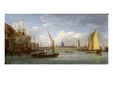 London Bridge, with St. Paul's Cathedral in the Distance, 1815 (Oil on Panel) Giclee Print by William Anderson