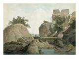 Fakir's Rock at Sultanganj, on the River Ganges, India, C.1790 (W/C over Graphite on Paper) Giclee Print by Thomas Daniell