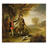 The Third Duke of Richmond (1735-1806) Out Shooting with His Servant, C.1765 (Oil on Canvas) Giclee Print by Johann Zoffany